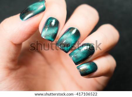 Beautiful nail art manicure nail designs stock photo 600269699 beautiful nail polish in hand green nail art manicure prinsesfo Gallery