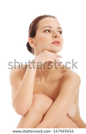 Beautiful naked woman, close up. Isolated on white.