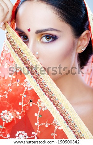 Beautiful native Indian lady - stock photo