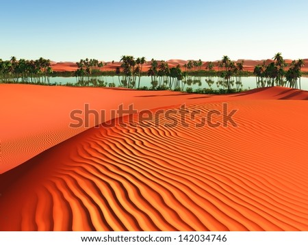 Beautiful natural background -African oasis - stock photo