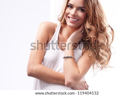 Beautiful natural blonde woman - stock photo