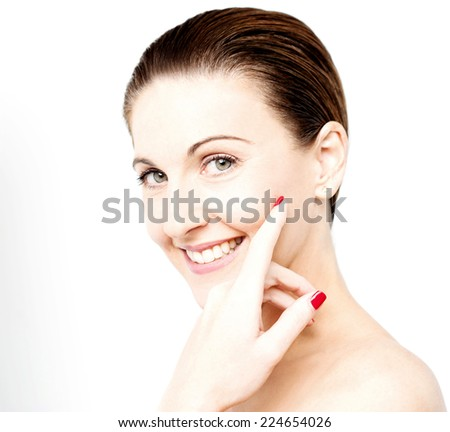 Beautiful natural blonde woman with bare shoulders - stock photo