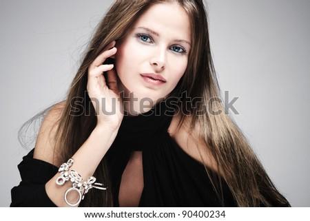 beautiful natural blue eyes woman portrait, studio shot - stock photo