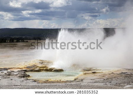 Beautiful natural geyser at Yellowstone National park - stock photo