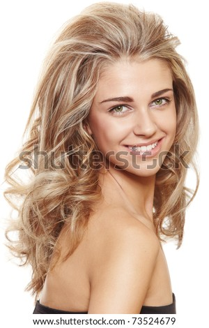beautiful natural make-up woman with blond long hair in big hairstyle smiling at camera isolated on white - stock photo