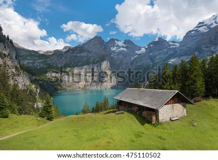 Beautiful natural scenery with the Oeschinensee in the Swiss Alps, near Adelboden, Switzerland, Europe