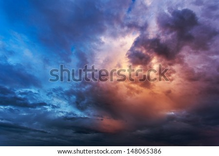 Beautiful nature background. Overcast sky before storm. - stock photo