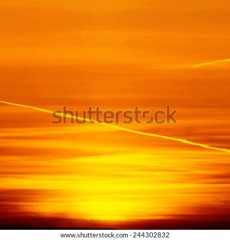 Beautiful nature background - red sunset, bright sun. Scenic view of beautiful sunset above the city. - stock photo