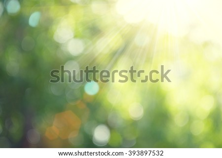 Beautiful Nature Blurred Background. Green Bokeh. Summer or spring backdrop with fresh green leaves and sun flares - stock photo
