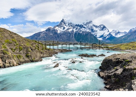 Beautiful nature in the Torres del Paine National Park, Patagonia, Chile - stock photo