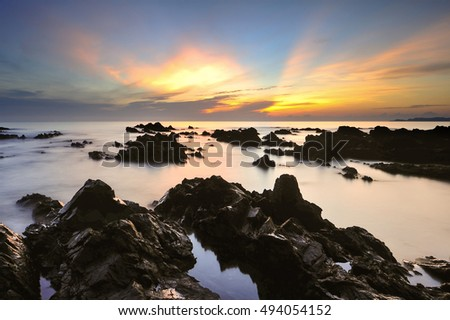 Beautiful nature landscape with unique formation rocks,( long exposure photography,Soft focus due to long exposure shot. Nature composition )