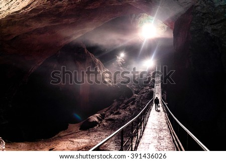 Beautiful nature of a cave, Magnificent Entrance Into the Cave,  Photography was taken in New Athos cave, Abkhazia - stock photo