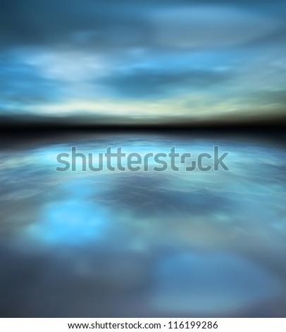 Beautiful nature scenery of twilight over sea. Soft focus - stock photo