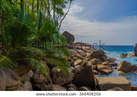 Beautiful nature scenery with ocean view in Seychelles - stock photo