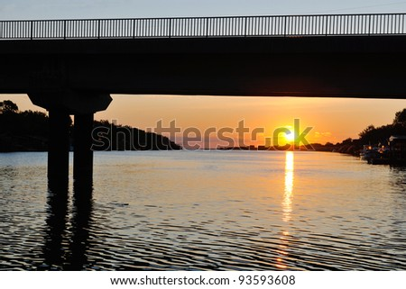 beautiful nature scenic sunset at river - stock photo