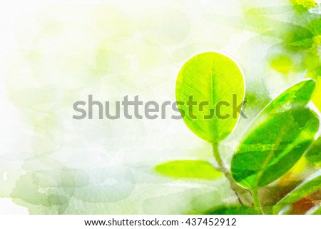 Beautiful nature watercolor of green leaf in garden at summer under sunlight. Natural  green plants landscape using as a background or wallpaper. - stock photo
