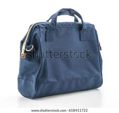 beautiful navy bag isolated on white background