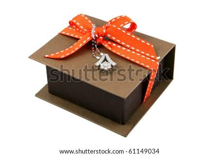 beautiful necklace on box - stock photo