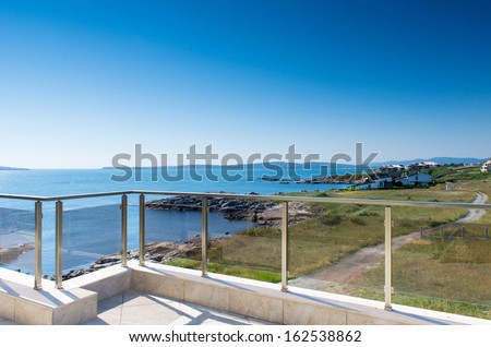 beautiful new apartment building, outdoor, terrace view  - stock photo
