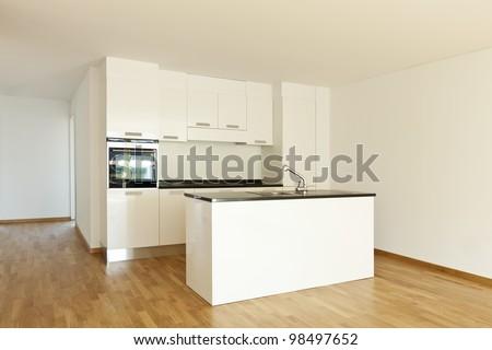beautiful new  apartment, interior, kitchen - stock photo