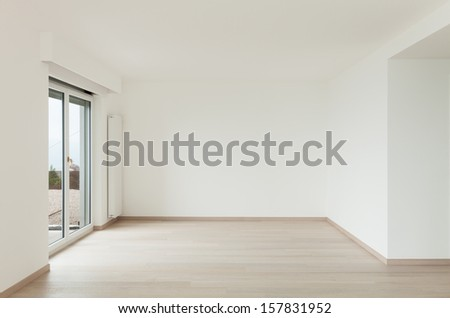 beautiful new apartment, interior, view room with window - stock photo