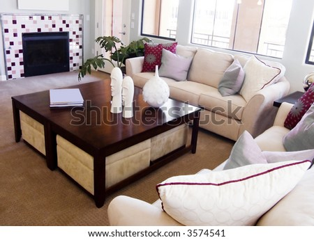 Beautiful New Living Room Interior Design - stock photo