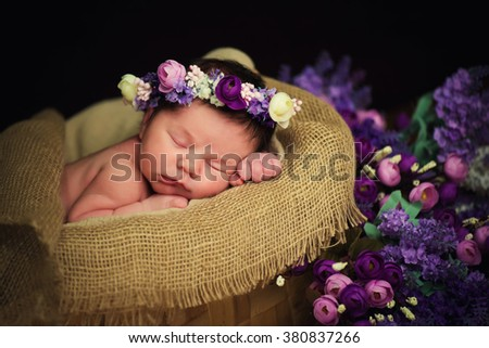 Beautiful newborn baby girl with a purple wreath sleeps in a wicker basket - stock photo