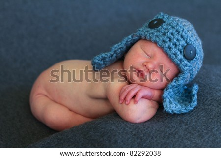 Beautiful newborn baby sleeping - stock photo
