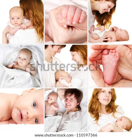 Beautiful newborn baby with parents collage - stock photo