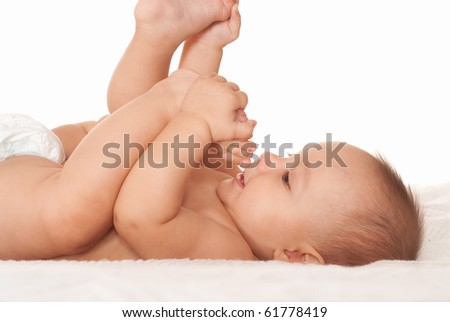 beautiful newborn on a white background