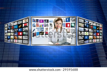 Beautiful news Tv redhead woman on 3d display monitor [Photo Illustration] - stock photo