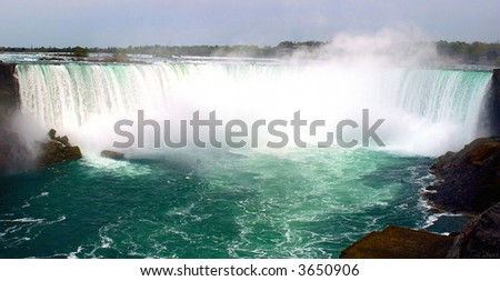 Beautiful Niagara falls with copyspace at the top - stock photo