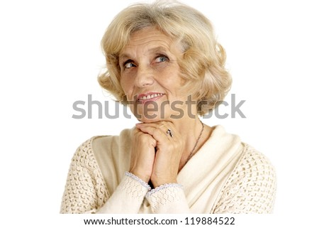 beautiful nice elderly woman on a white background