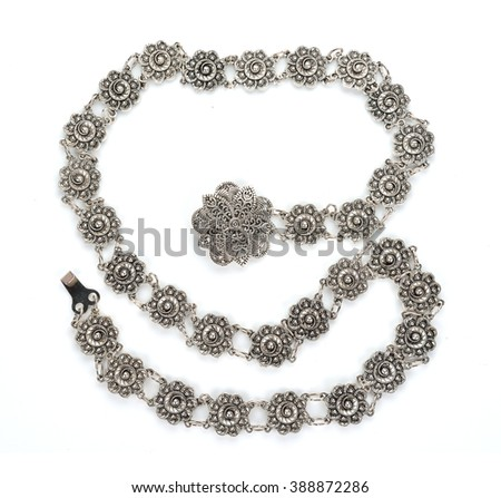 Beautiful nice shiny silver detailed handcraft belt as vintage fashion accessories for sale in a jewelry shop in Thailand  - stock photo