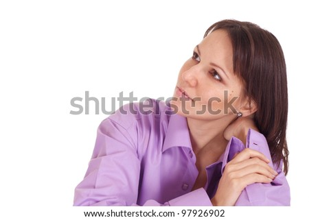 Beautiful nice woman in purple compelling shirt on a isolate background - stock photo