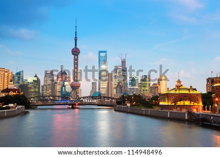 beautiful night in shanghai,view from suzhou river - stock photo