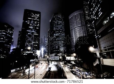 beautiful night landscape, city - stock photo