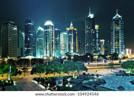 beautiful night scene in shanghai financial center - stock photo