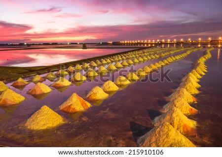 Beautiful Night Scene of Salt Pan in Thailand - stock photo