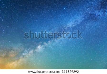 beautiful night sky background - stock photo