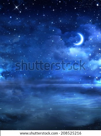 beautiful night sky in the open sea - stock photo