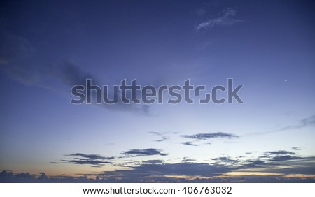 Beautiful night sky with clouds and crescent - stock photo