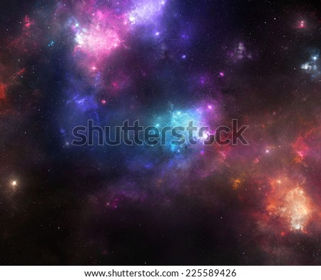 Beautiful night sky with colorful nebulae and galaxies - stock photo