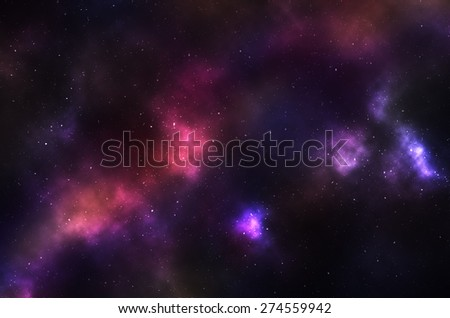 Beautiful night sky with colorful nebulae and galaxies. - stock photo