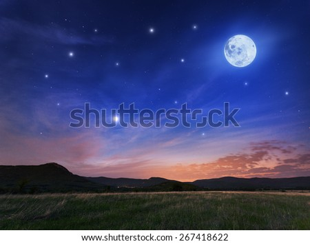 Beautiful night sky with the full moon and stars. Spring in Crimea - stock photo