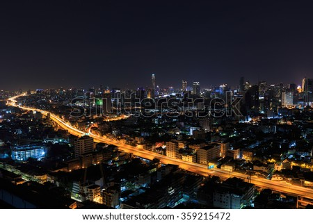 beautiful night skyline city at Bangkok ,Thailand.