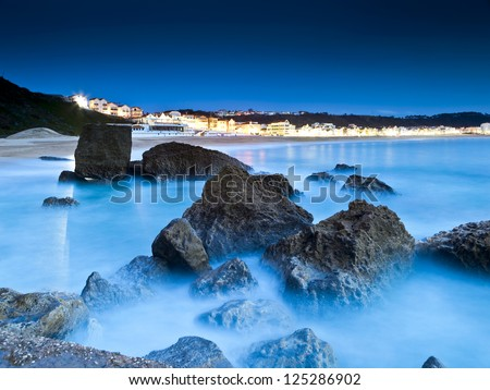 Beautiful night view from the small village Nazar���©  in Portugal - stock photo