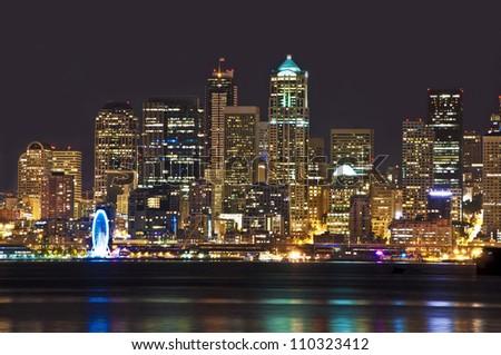 Beautiful night view of seattle skyline - stock photo