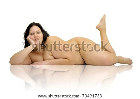 Beautiful nude large girl isolated in white