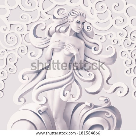 Beautiful nude woman with curly hair - stock photo